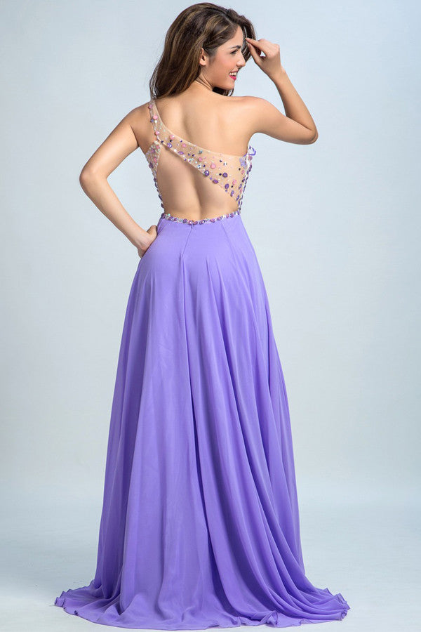 One-Shoulder Chiffon Prom Dresses Homecoming Dress with Beading ED38