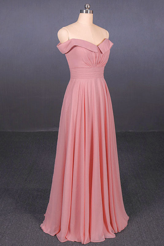 Strapless Floor Length Chiffon Pink Prom Dress, Simple A Line Bridesmaid Dress N2344