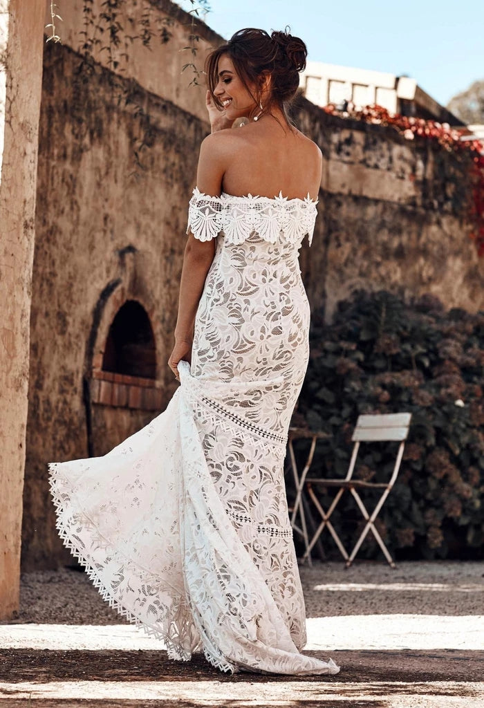 Charming Off the Shoulder Lace Bridal Dress, Boho Wedding Dress, Beach Wedding Dress N2242