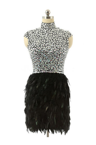 High Neck Knee-length Feather Prom Dresses Homecoming Dress ED39