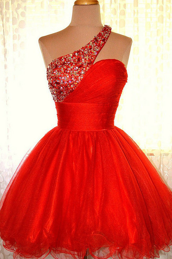 One shoulder Red Organza Prom Dresses Homecoming Dress ED40