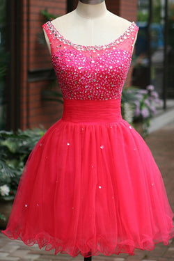Fuchsia Tulle Beading Prom Dresses Homecoming Dress ED41