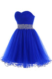 Royal Blue Beaded Tulle Prom Dresses Homecoming Dress ED42