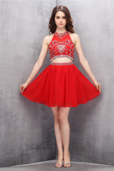 Two Piece Chiffon Red Beading Homecoming/Prom Dresses  ED77