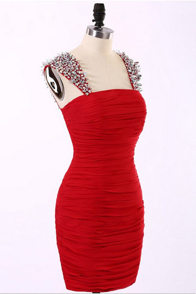 Straps Short Chiffon Red Prom Dresses Homecoming Dress ED43