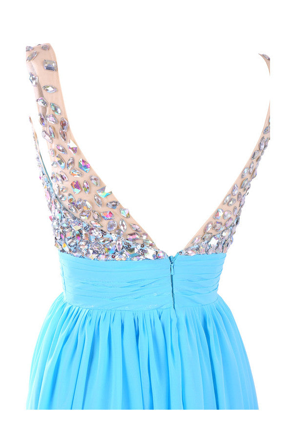 V-neck Chiffon Long Blue Prom/Evening Dress With Beading S05