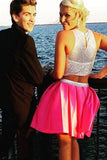 Two Piece Sleeveless Beading Prom Dress Homecoming Dress ED47