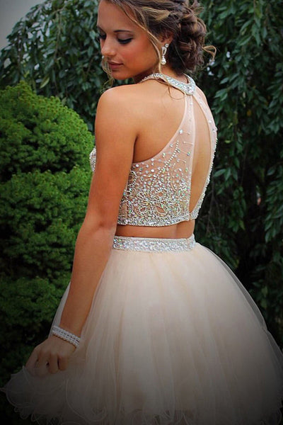 Two Piece Tulle Beading Prom Dresses Homecoming Dresses ED48