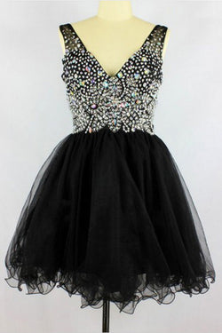 Black V-neck Sleevelesss Beading Prom Dresses Homecoming Dresses ED49