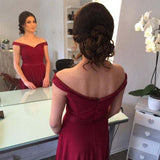 Burgundy Off-the-Shoulder Floor-length Ruched Satin Long Prom Dresses,Evening Dresses,N389
