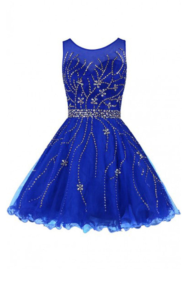 Scoop Royal Blue Tulle Beading Prom Dress Homecoming Dress ED55