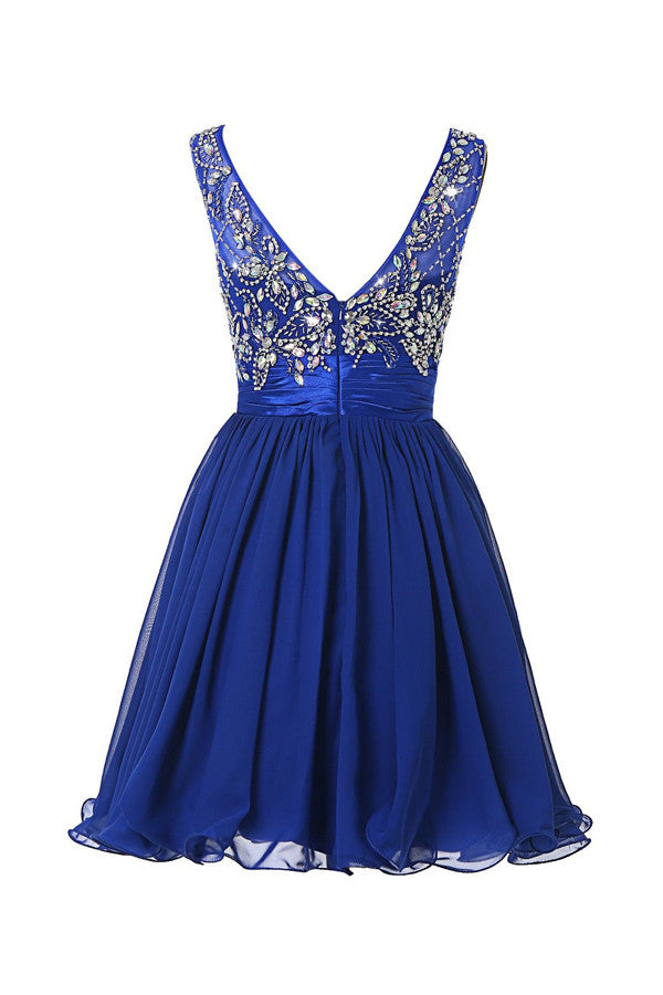 Scoop Chiffon Grape Beading Prom Dress Homecoming Dress ED54