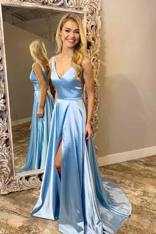 Light Blue V Neck Simple Prom Gown, A Line Sleeveless Formal Dress with Train N1708