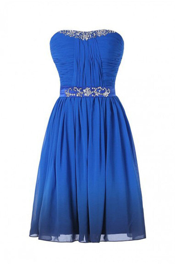 Royal Blue Chiffon Strapless Prom Dress Homecoming Dress ED52