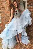 Light Blue Two Piece Beading High Low Prom Dresses, Sparkly Sleeveless Evening Dress N1706