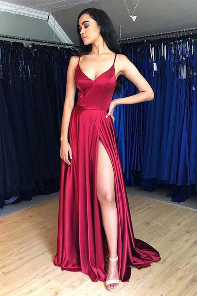Burgundy Spaghetti Strap Sleeveless Split Prom Dress, Simple Long Evening Dresses N1707