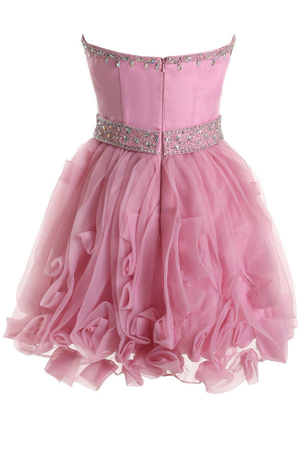 Sweetheart Organza Pink Prom Dress Homecoming Dress ED53