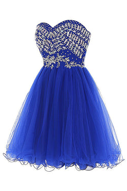 Royal Blue Tulle Sleeveless Prom Dress Homecoming Dress ED56