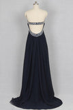 Sweetheart Chiffon Crystals Black Long Prom/Party Dress S06
