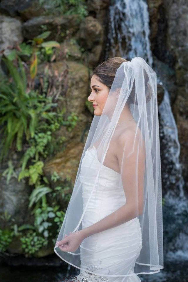 Simple 1 Tier Fingertip Length Wedding Veil with Ribbon Trim Edge