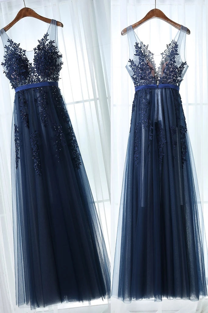 Dark Blue A Line Tulle Prom Dress with V Back, Floor Length Sleeveless Dress with Appliques N2674