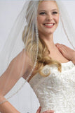 One Layer Fingertip Wedding Veil with Crystals and Sequins, Ivory Beading Edge Veil