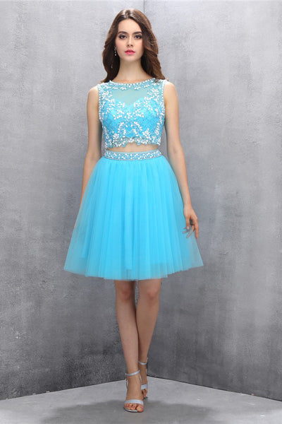 Two-piece Organza Open Back Homecoming/Prom Dresses With Beading  ED73