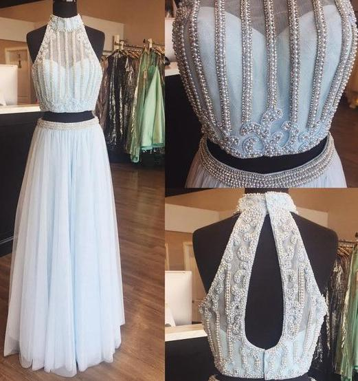 Two Piece Beaded High Neck Light Sky Blue Tulle Sleeveless Long Formal Dress,N584