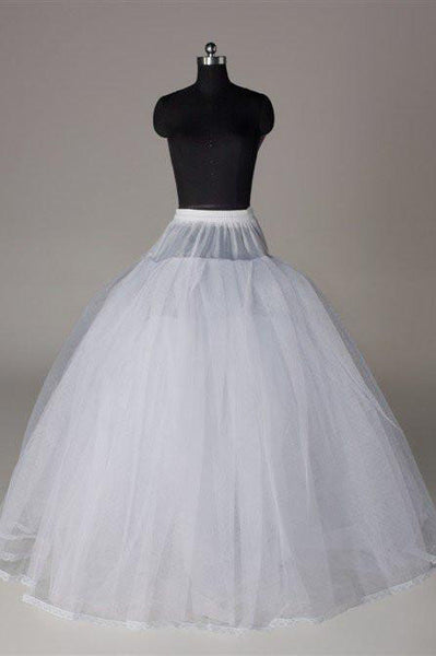 Fashion Wedding Petticoat Accessories White Floor Length Long Underskirt