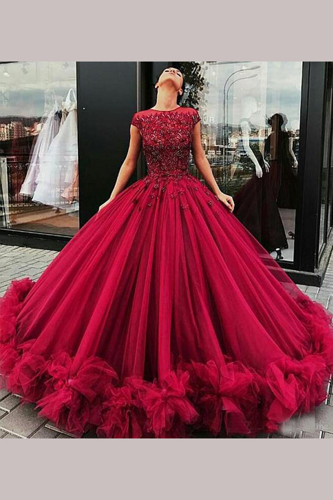Gorgeous Burgundy Ball Gown Jewel Tulle Beading Cap Sleeves Prom Dress,N720