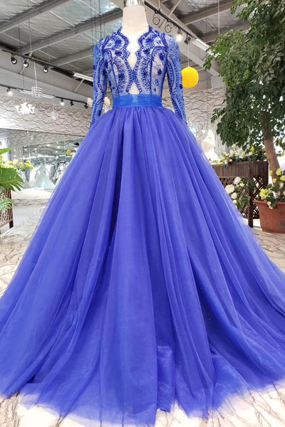 Royal Blue Long Sleeve Tulle Prom Dress with Lace, Long Party Dress with Beads N1648