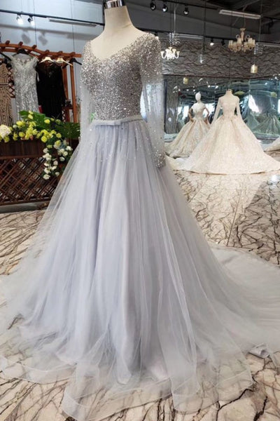 A Line Long Sleeves Tulle Prom Dress with Sequins, Sparkly V Neck Evening Dresses N1647