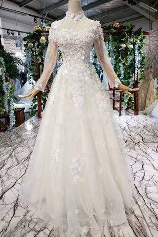 High Neck Wedding Dress.A Line High Neck Wedding Dresses With Flowers Long Sleeves Bridal Dresses N1650