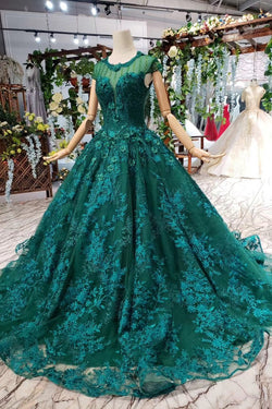 Dark Green Lace Ball Gown Prom Dress With Beads, Quinceanera Dress with Flowers N1642