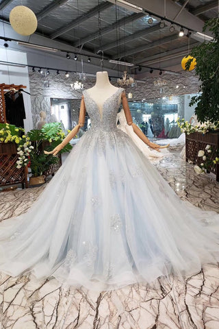 Ball Gown Deep V Neck Sleeveless Tulle Wedding Dress with Beading, Prom Dresses N1671