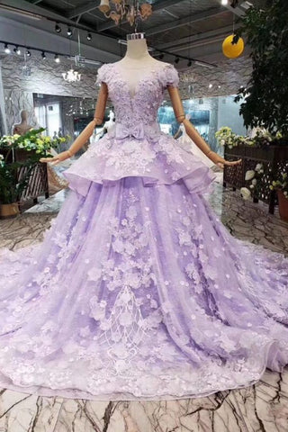 new authentic wholesale outlet promotion Lilac Ball Gown Short Sleeve Prom Dresses with Long Train, Gorgeous  Quinceanera Dress N1717