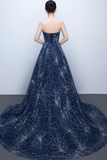 Unique V-neck Prom Gown,Strapless Navy Blue Sparkly Evening Dress,Sexy Prom Gowns N77