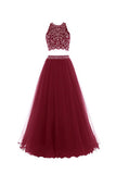 Two Piece Red Floor-Length Backless Tulle Long Prom/Party Dress S07