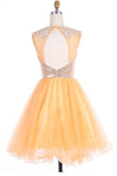 Scoop Gold Organza Open Back Prom Dresses Homecoming Dresses ED62