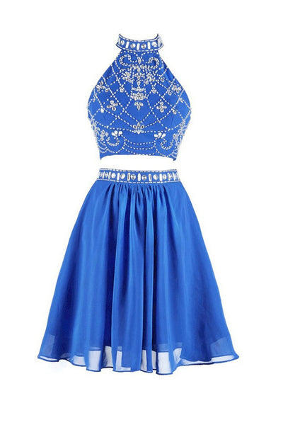 Two-piece High Neck Short Blue Chiffon Prom Dresses Homecoming Dresses ED65