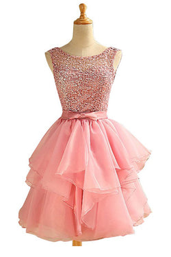 Scoop Above-knee Pink Chiffon  Homecoming Dresses With Lace Ruched ED66