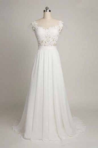 Cap Sleeves Sweetheart Long Chiffon Wedding Dress with Lace