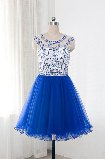 Royal Blue Tulle  Sleeveless Homecoming/Prom Dresses With Beading ED68