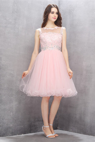 Scoop Knee-length Pink Homecoming Dress with Appliques Beading ED80