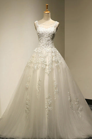 Scoop Court Train Tulle Backless Lace-up Wedding Dress with Beading