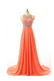 Chiffon Backless Orange Prom/Evening Dress With Beading S08