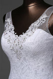 Mermaid V-neck Sweep Train Lace Wedding Dress with Beading