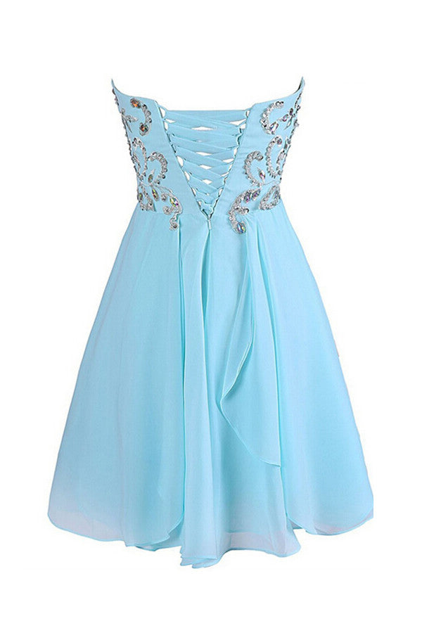 Sweetheart Chiffon Blue Homecoming/Prom Dresses With Beading  ED72