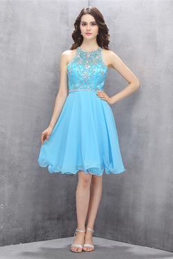 Knee-length Blue Chiffon Open Back Homecoming Dress with Beading ED81