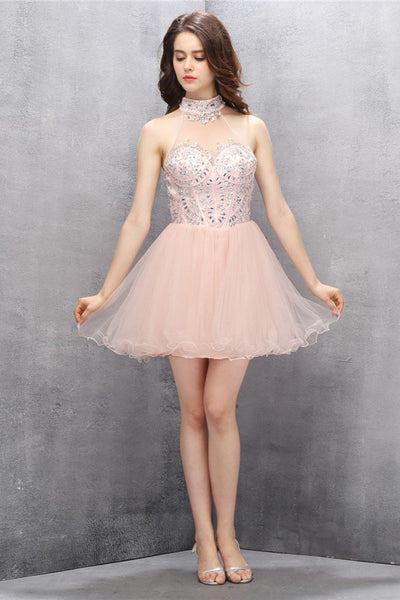 High Neck Short Blush Tulle Homecoming Dresses with Beading ED83